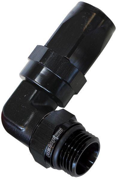 Aeroflow AF849-06-08BLK 90Deg -6an Hose To Male -8an Thread Black Sparesbox - Image 1