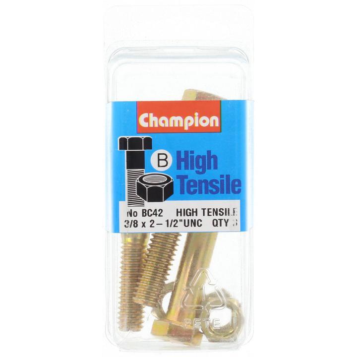 Champion Bolt & Nut Pack UNC 2-1/2 x 3/8 BC42 Sparesbox - Image 1