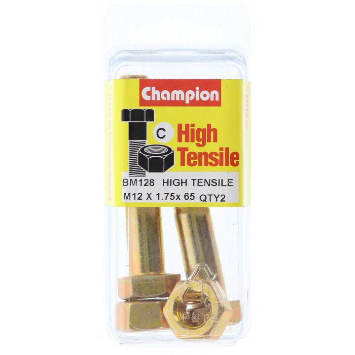 Champion Bolt & Nut Pack Metric M12x1.75 x 65mm BM128 Sparesbox - Image 1