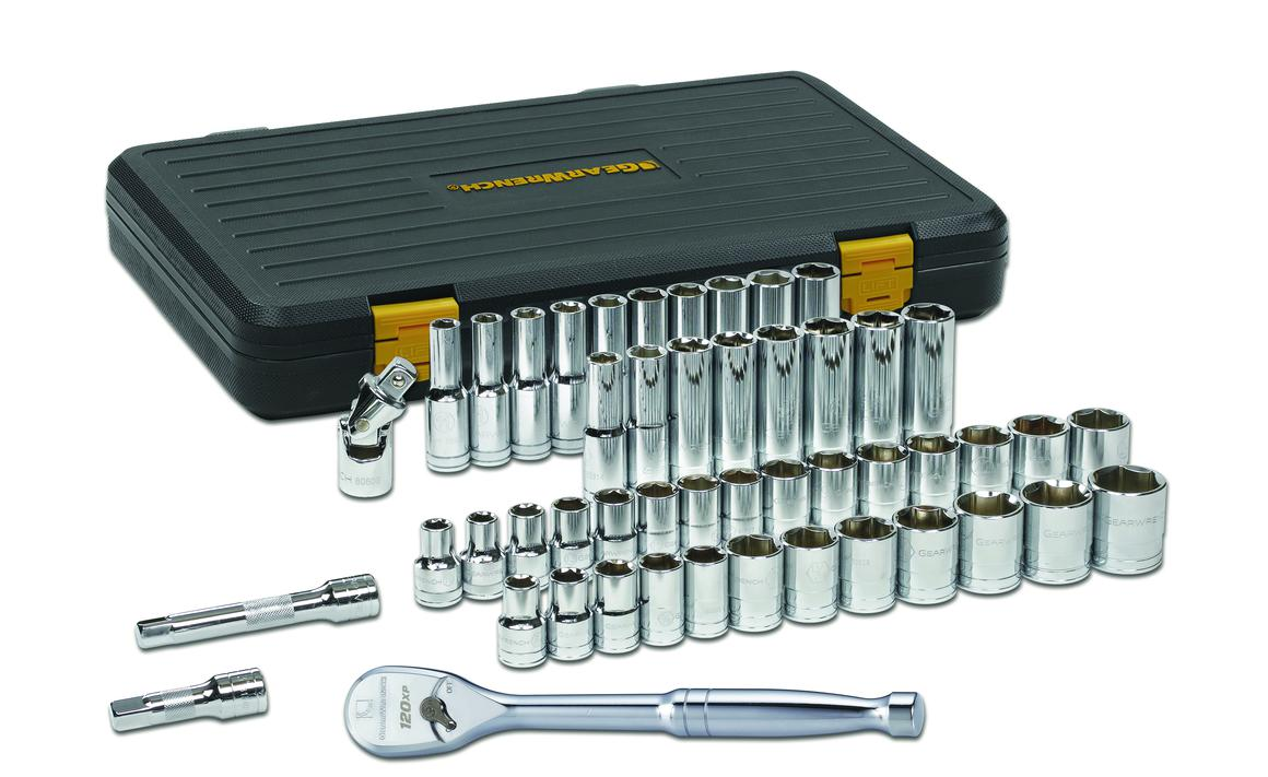 "GearWrench Socket Set 1/2"" Drive Standard & Deep 6pt BlowMold Case MET/SAE 49Pc Sparesbox - Image 1"