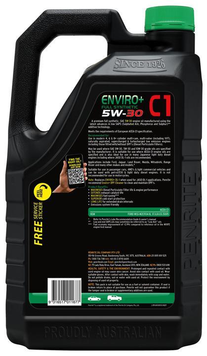 Penrite Enviro+ C1 5W-30 Diesel Engine Oil 5L Sparesbox - Image 2