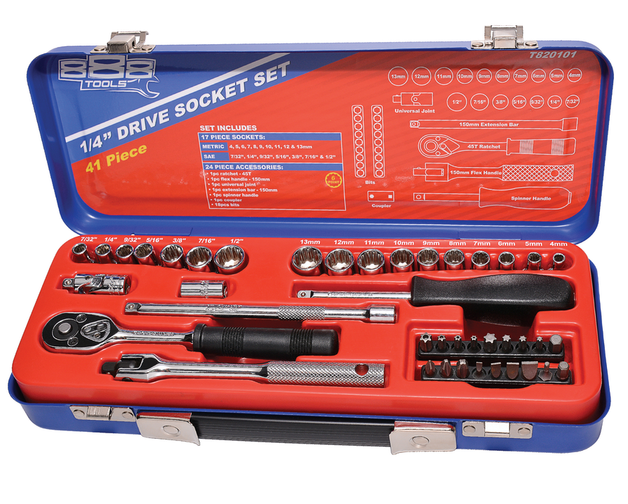 "888 By SP Tools Socket Set 888 1/4"" Dr 6PT Metric/SAE 41Pc Sparesbox - Image 1"