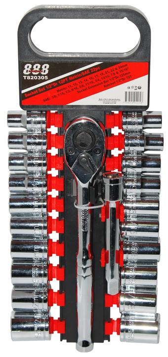 888 By SP Tools Socket Set 1/2 Dr 12PT Metric/SAE 22Pc Sparesbox - Image 1