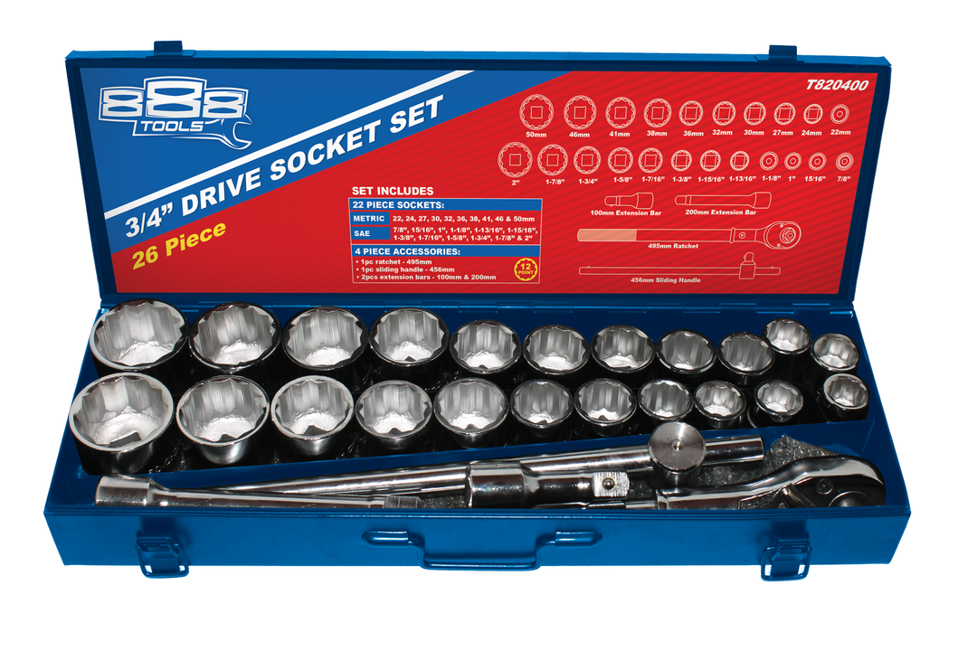 888 By SP Tools Socket Set 26Pc 12PT 3/4 Drive - Metal Box Sparesbox - Image 1