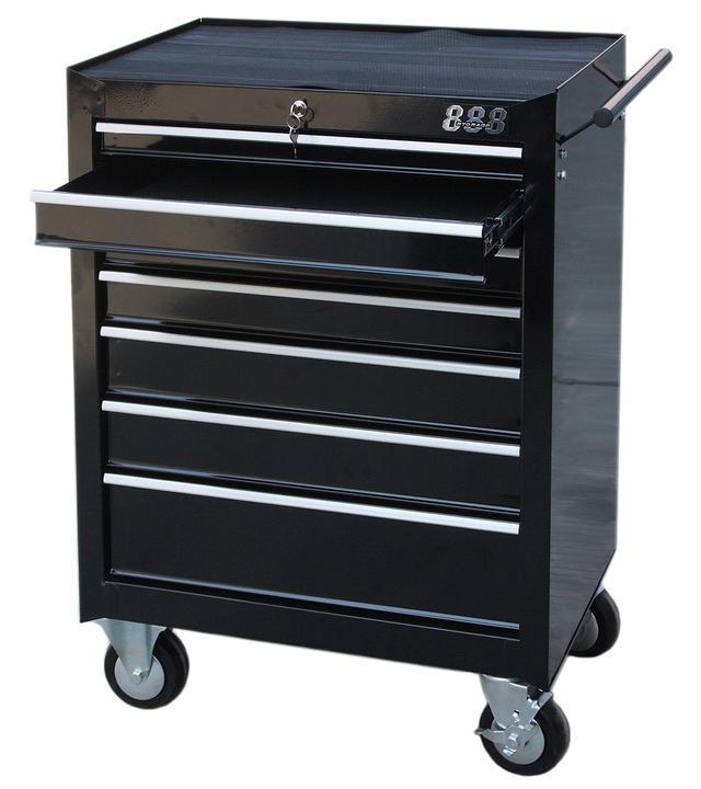 888 By SP Tools Roller Cab Black 7 Drawer Sparesbox - Image 1