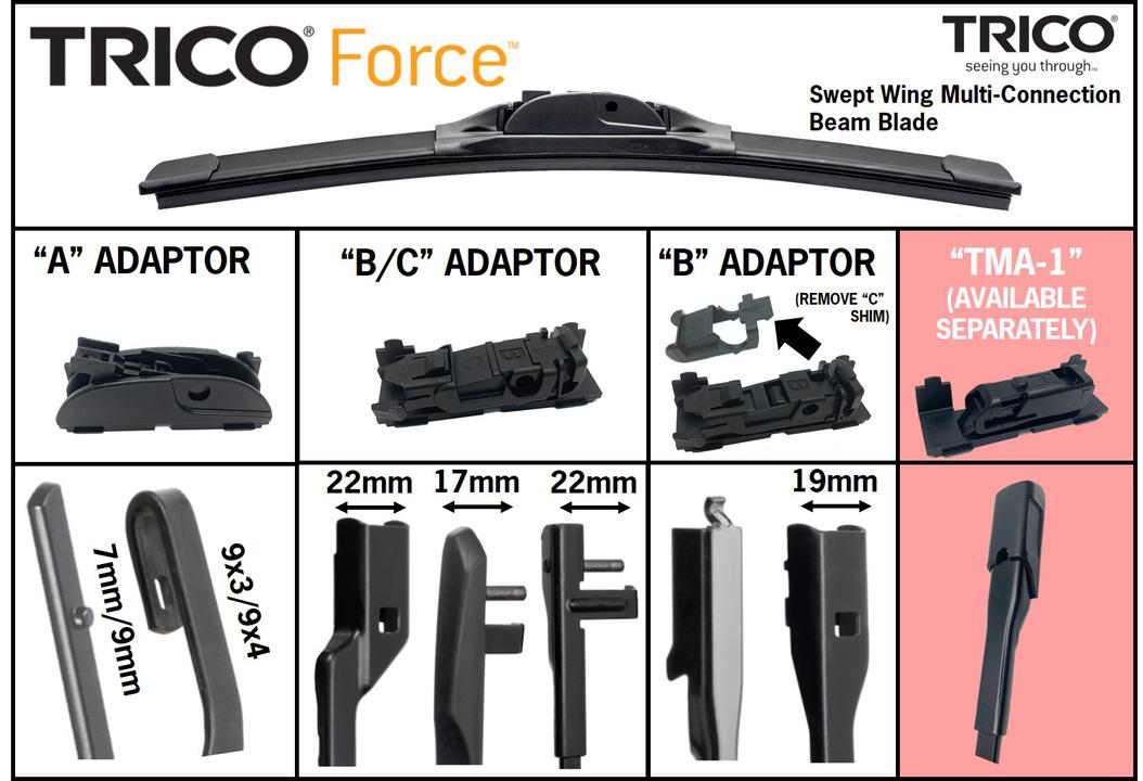 Trico Force Beam Wiper Blade 450mm TF450 Sparesbox - Image 4